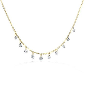 Drilled Diamond Necklace 14KY