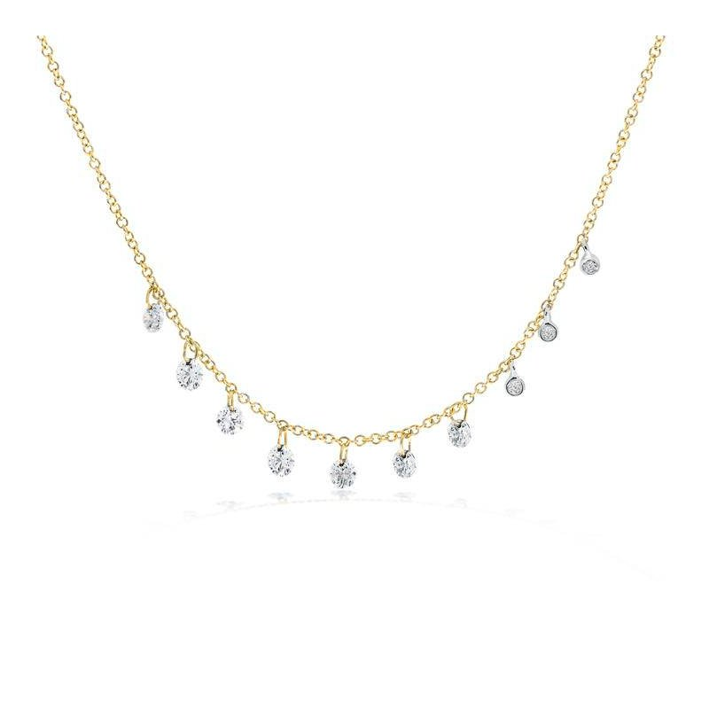 Meira T Drilled Diamond Necklace 14KY