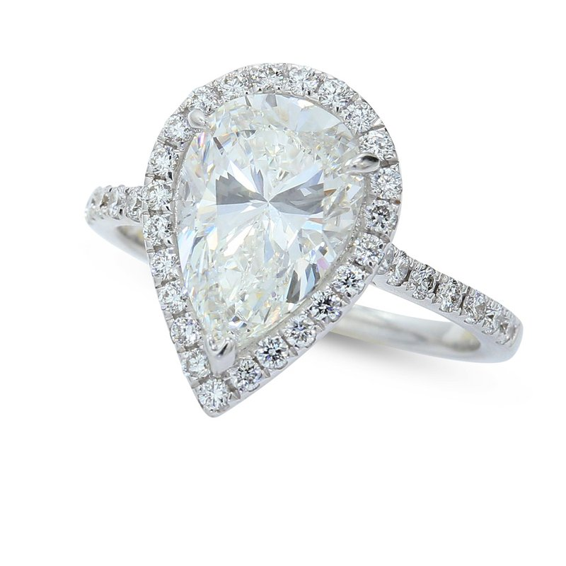 3.00 Pear Halo Engagement Ring 14KW