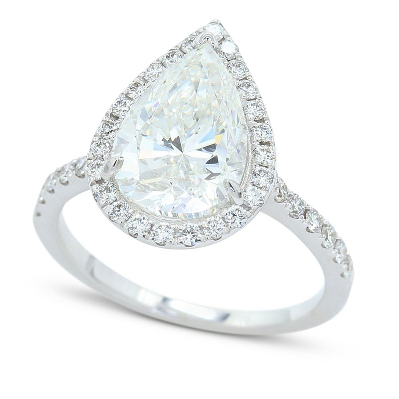 London Gold Designs 3.00 Pear Halo Engagement Ring 14KW