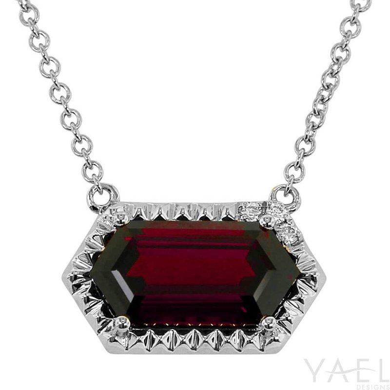 Yael Designs Long Hexagon Garnet Necklace 14KW