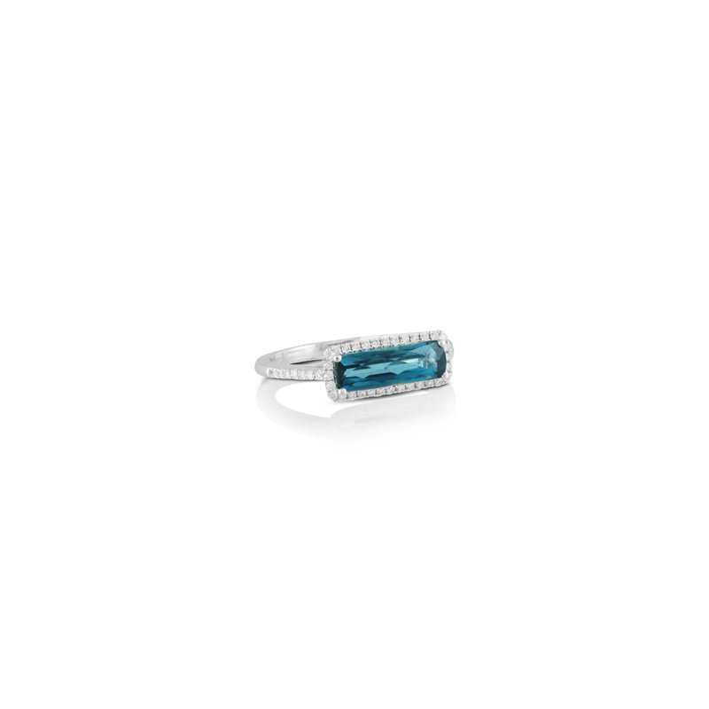 Doves London Blue Topaz Halo Ring 18KW
