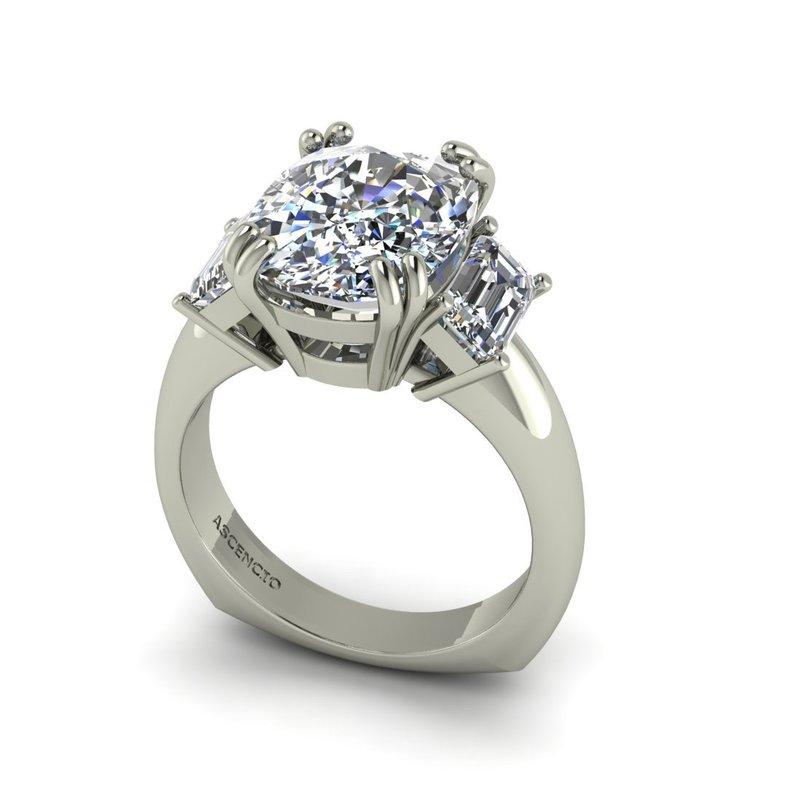 Ascencio Designs Three Stone Engagement Ring - Custom Order