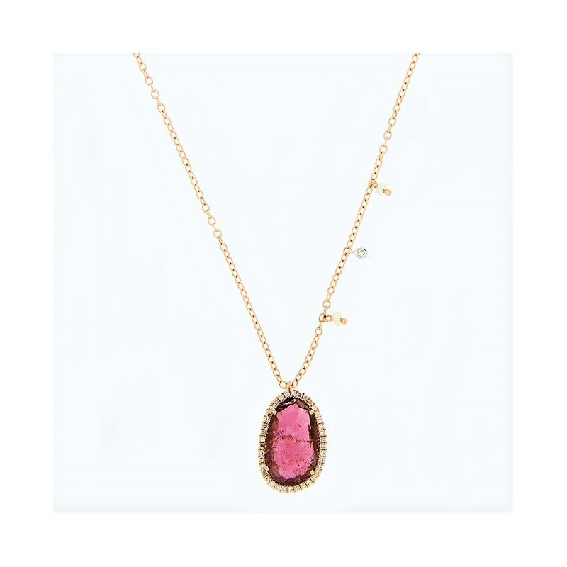 Meira T Pink Tourmaline Halo Necklace