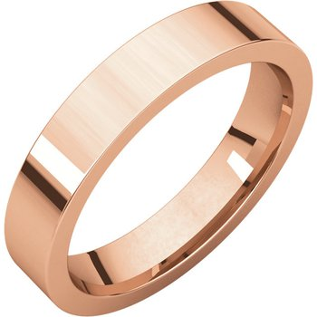 14K Rose 4mm Flat Comfort Fit Band