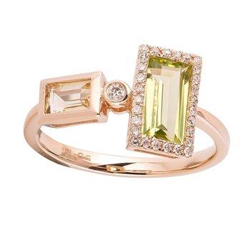 Geometric Gemstone Ring 14KY