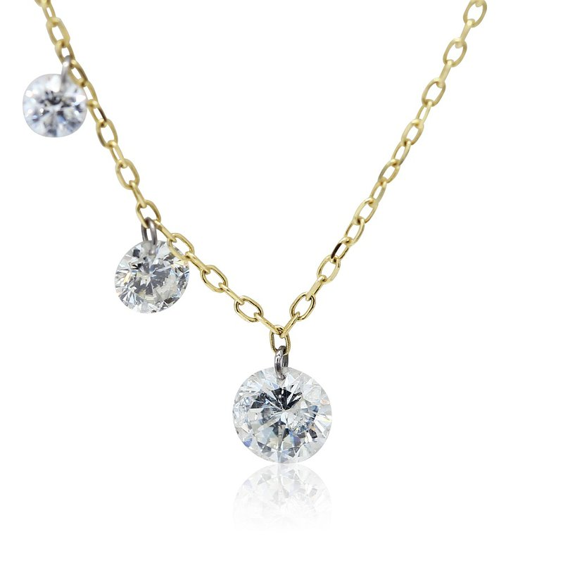 Gravity Pierced Three Stone Necklace 14KY