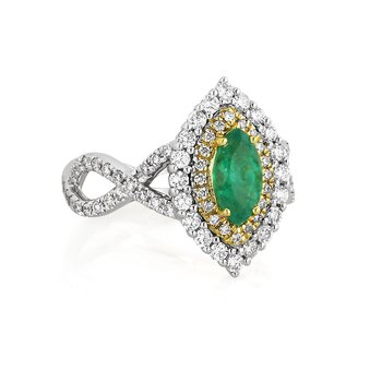 Diamond & Emerald Halo Ring 18KW