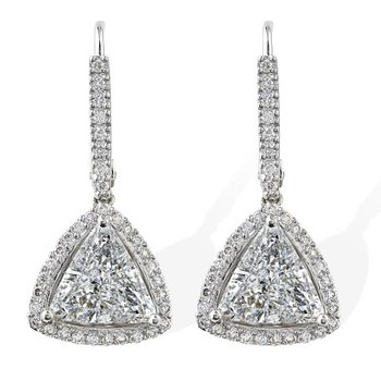 Trillion Halo Diamond Dangles 18KW