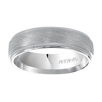 "14K White Gold ""Courtland"" Comfort Fit Wedding Band"