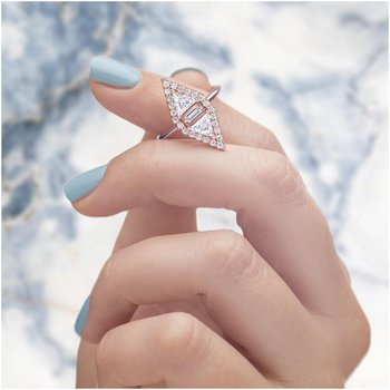 Triangle Set Two-Stone Ring 14KR