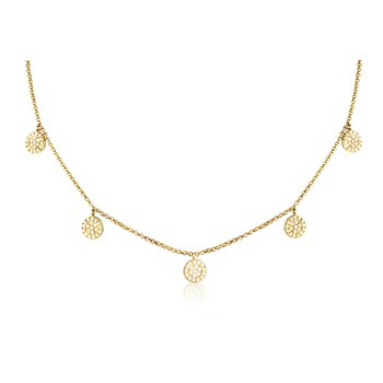 Diamond Circle Necklace 14KY