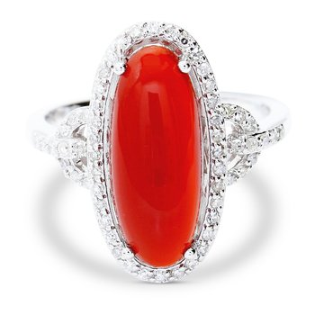 Red Agate & Diamond Ring 14KW