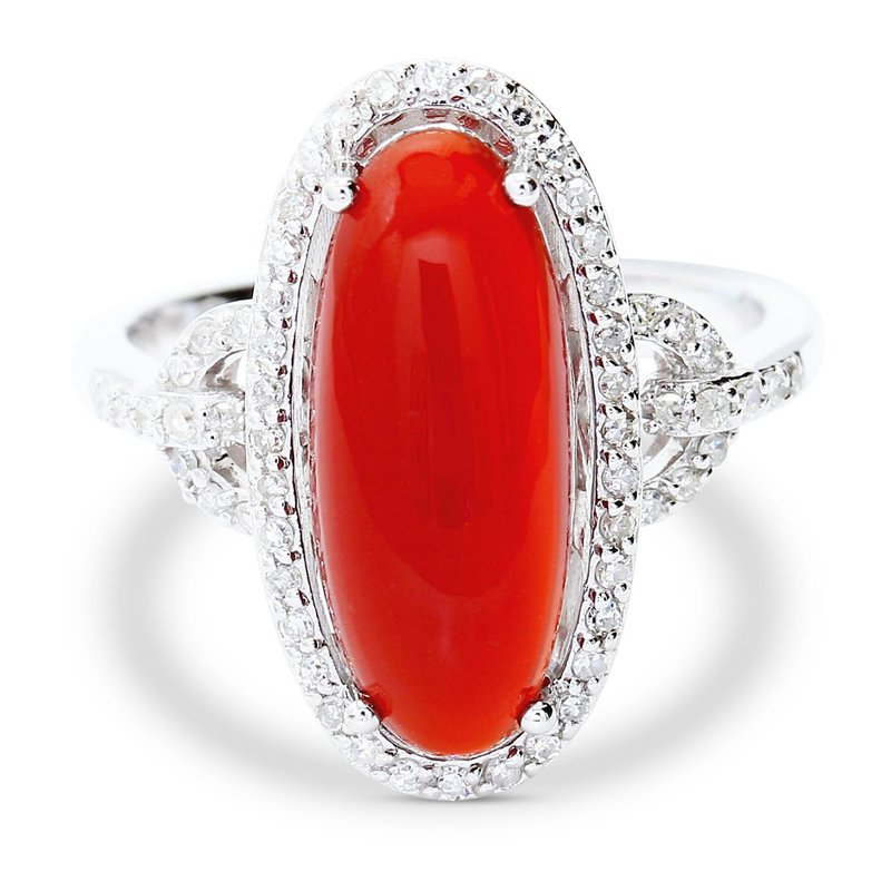 Estate Jewelry Red Agate & Diamond Ring 14KW