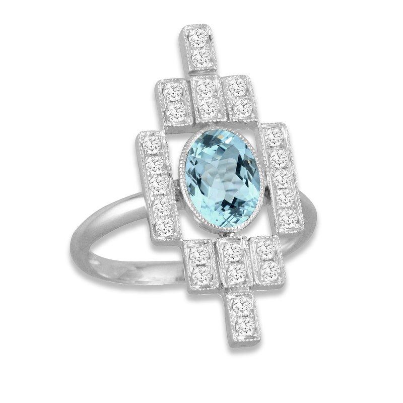 Doves Art Deco Diamond & Aquamarine Ring 18KW - Special Order