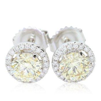 1.42cttw Fancy Yellow Diamond Halo Studs