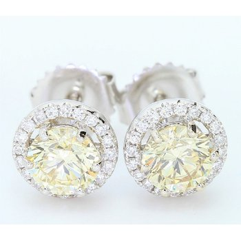 1.42cttw Fancy Yellow Diamond Halo Studs