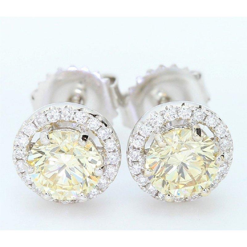 London Gold Designs 1.42cttw Fancy Yellow Diamond Halo Studs