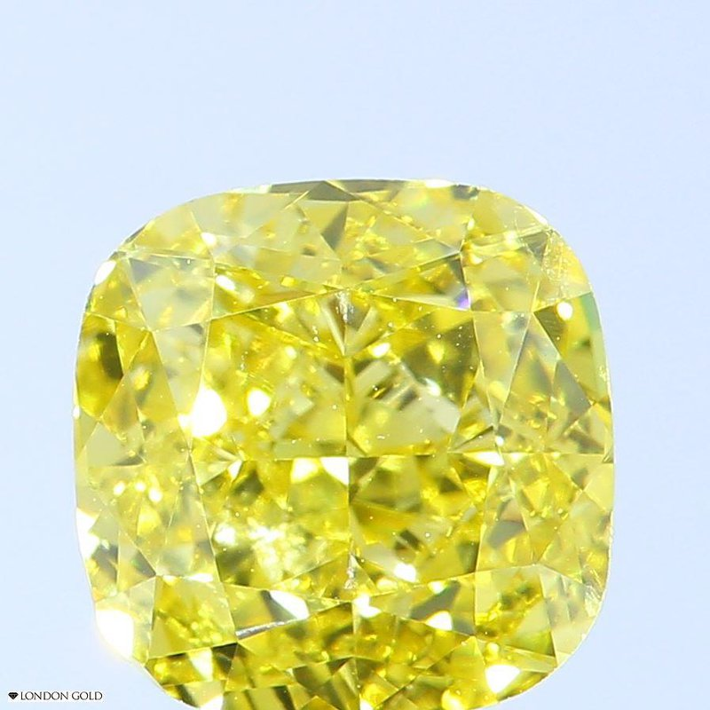 Colored Diamonds Cushion 1.62 Color Treated Fancy Vivid Yellow SI2