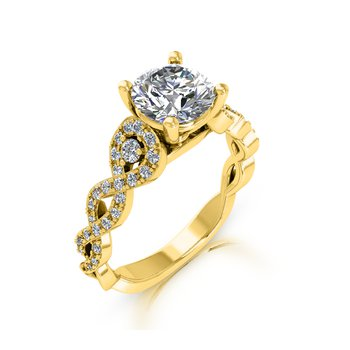 Twist Engagement Ring 18KY - Setting Only