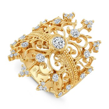 Wide Filigree Diamond Ring 18KY
