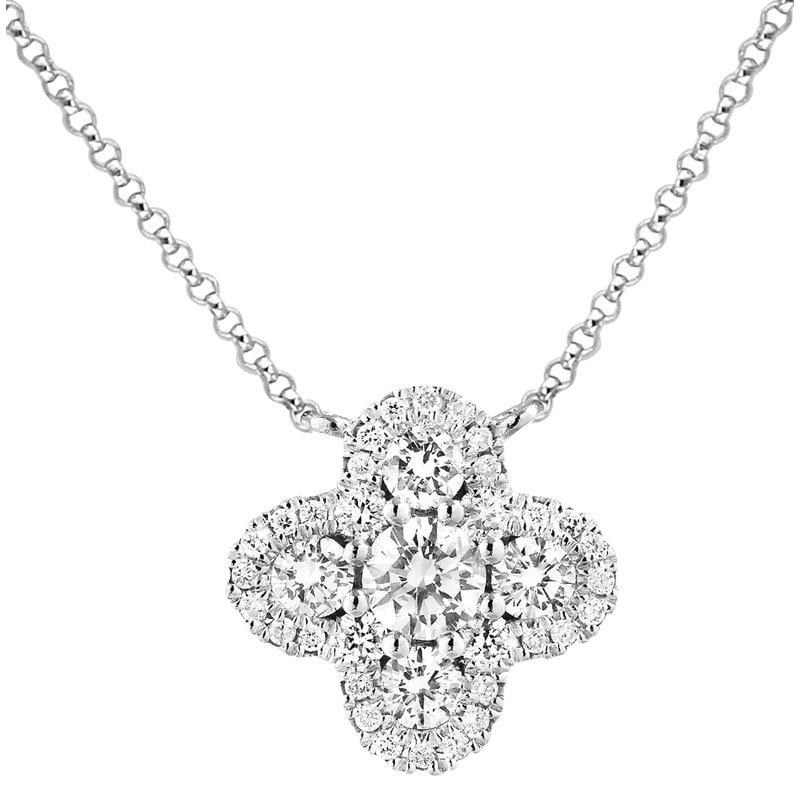 London Gold Designs Quatrefoil Diamond Necklace 18KW