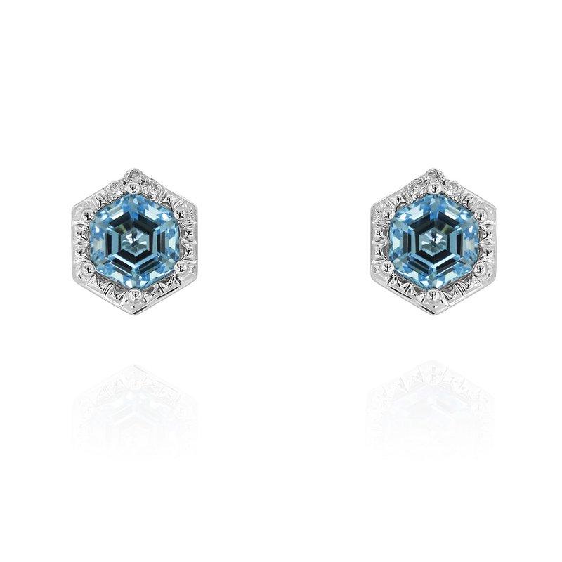 Yael Designs Hexagon Blue Topaz Earrings 14KW