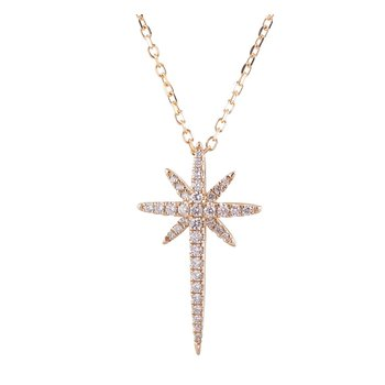 Starburst Diamond Cross Pendant 14KY