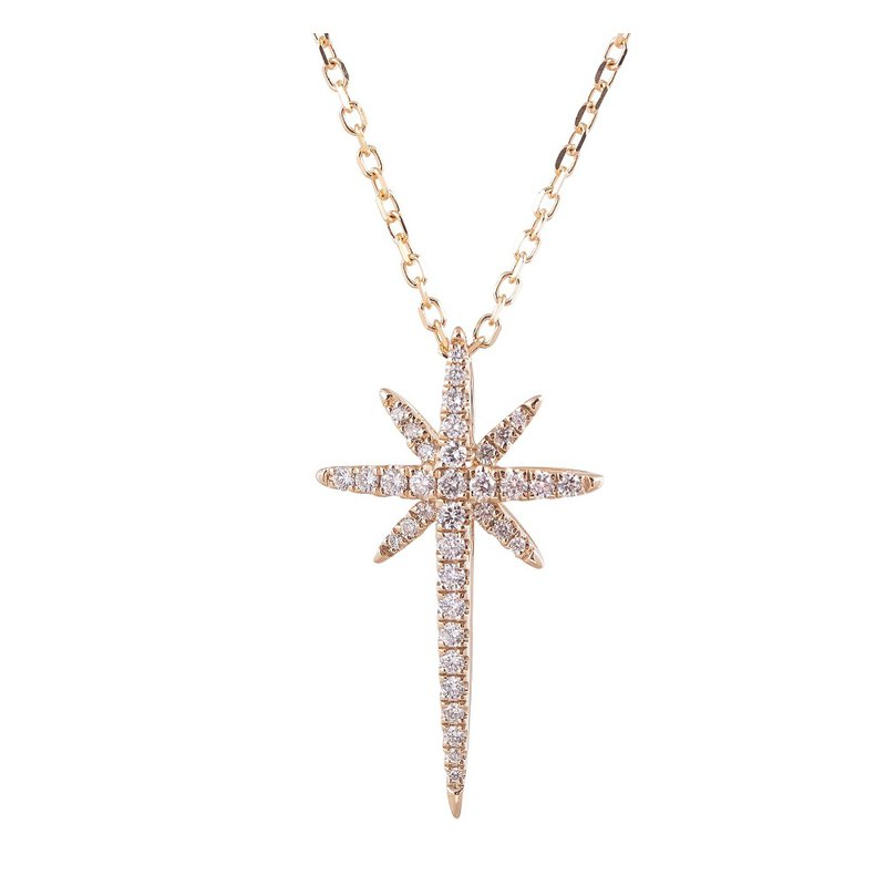 Sophia by Design Starburst Diamond Cross Pendant 14KY
