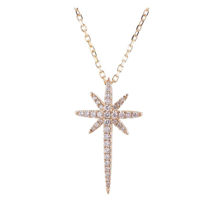 Sophia by Design Starburst Diamond Cross Pendant 14KY