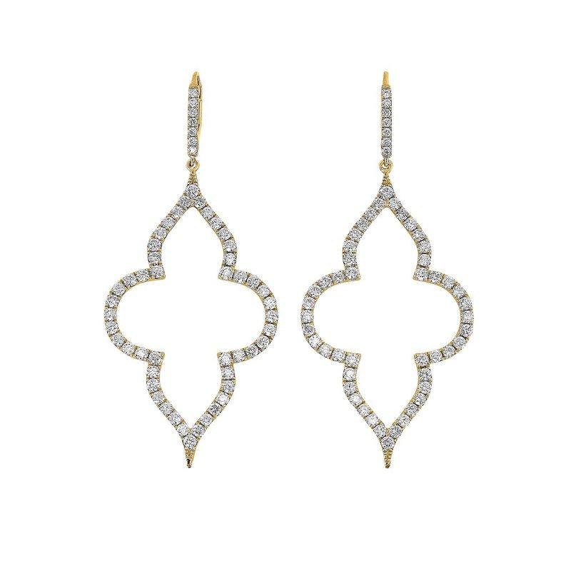 Yael Designs Dangle Quatrefoil Earrings 18KY