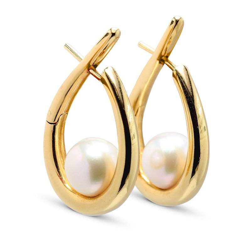 Estate Jewelry Hoop Pearl Earrings 18KY