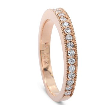 14K Rose Milgrain Diamond Band .42cttw