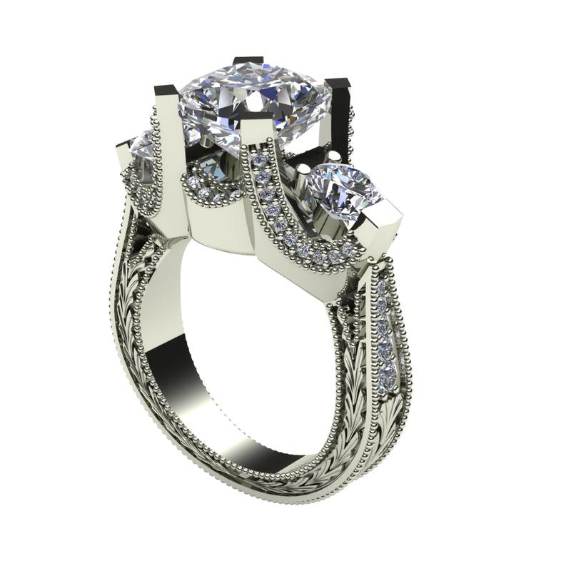 Daniels Designs Vintage Three Stone Engagement Ring