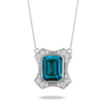 London Blue Topaz Necklace 18KW