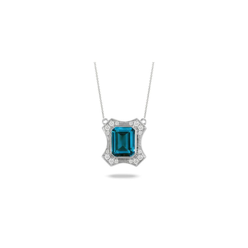 Doves London Blue Topaz Necklace 18KW