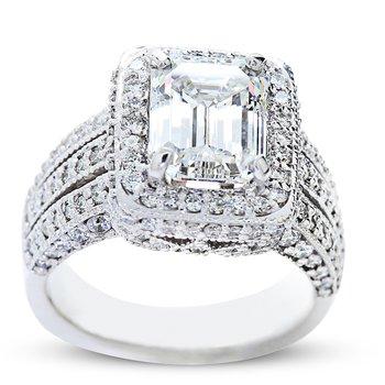 3.00 Carat Emerald Cut Diamond Engagement Ring