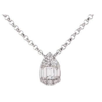 Teardrop Diamond Necklace 18KW