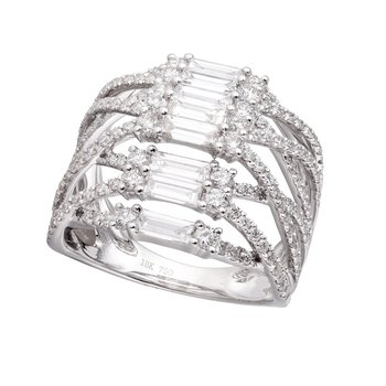 Baguette & Round Diamond Ring 18K White