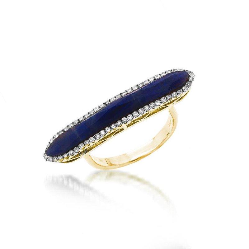 Meira T Blue Sapphire Bar Ring 14KY