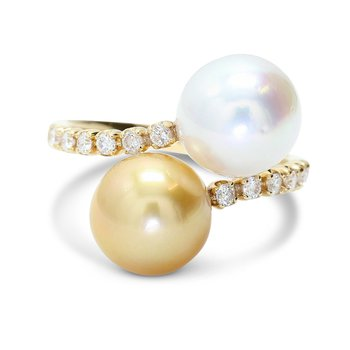 Bypass Pearl & Diamond Ring 18KY
