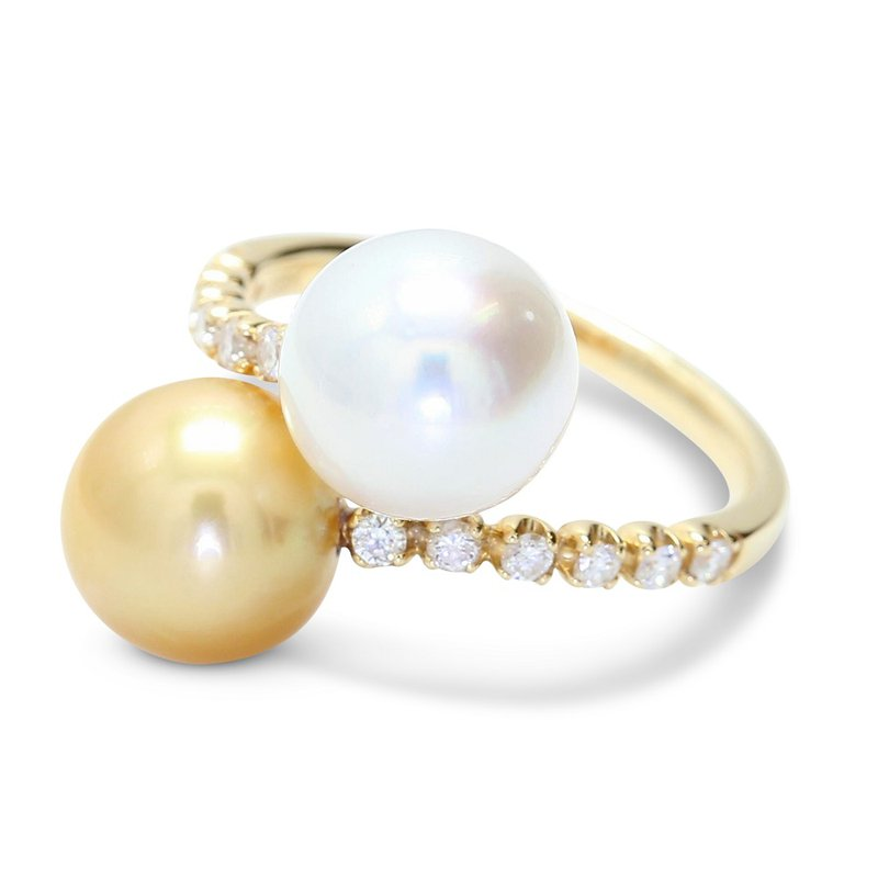 London Gold Designs Bypass Pearl & Diamond Ring 18KY