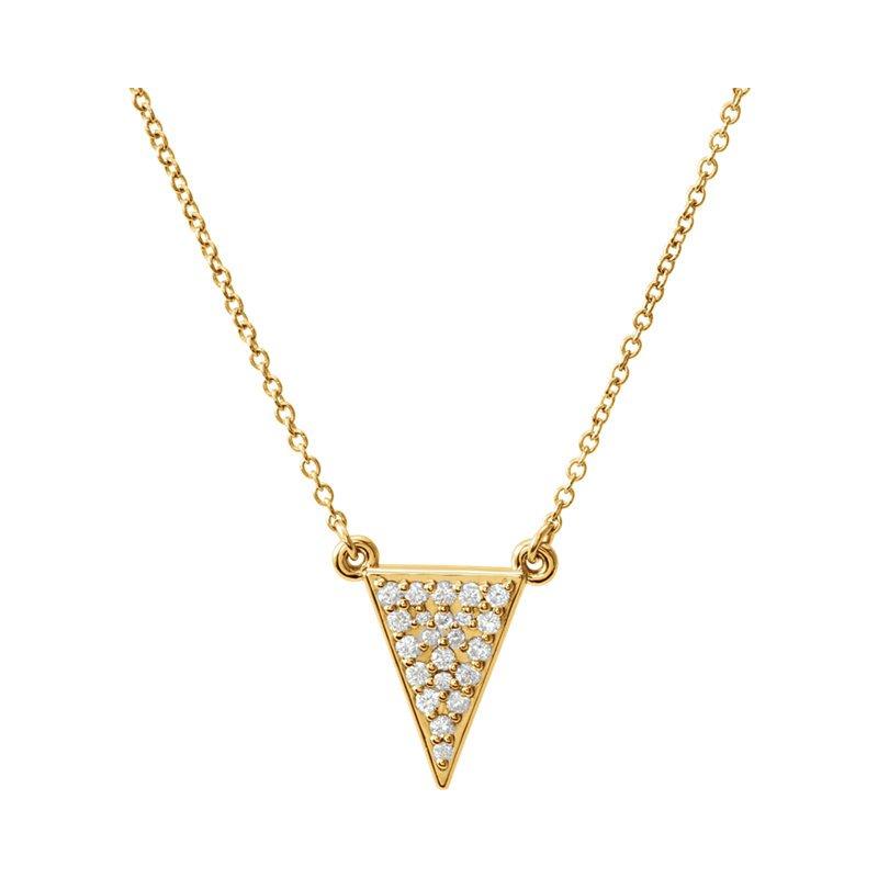 Gallery Designs Diamond Triangle Necklace 14KY