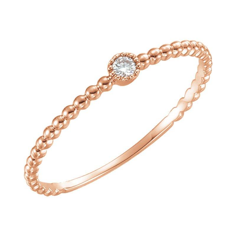 Gallery Designs 14k Rose Beaded Bezel-Set Solitaire Ring