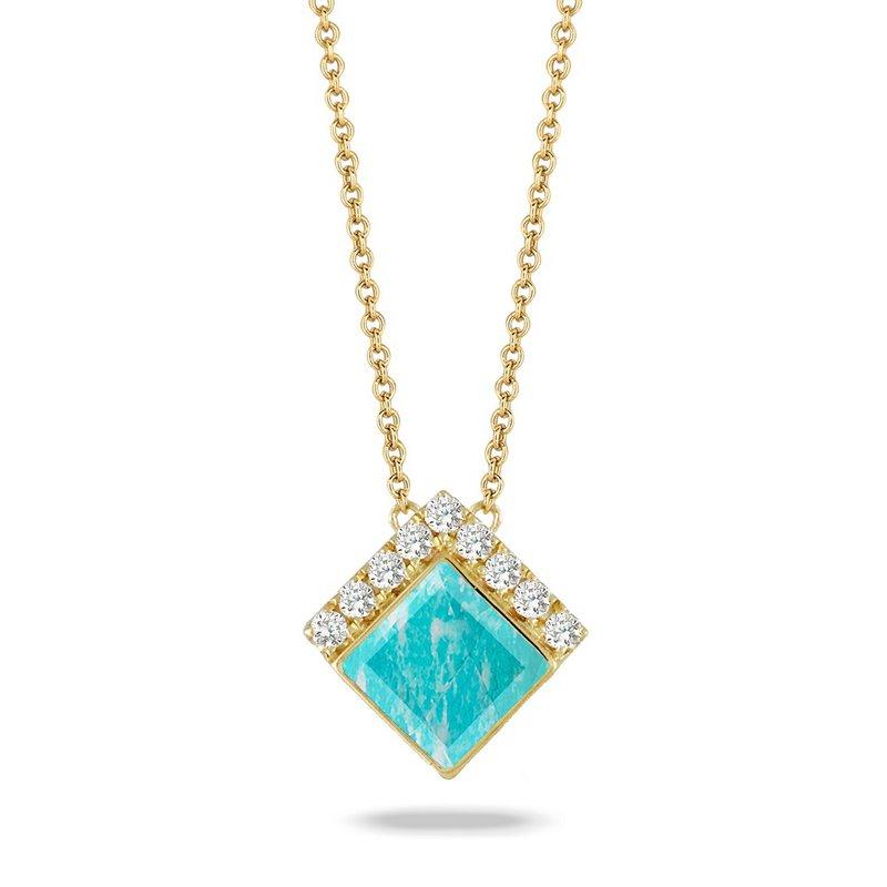Doves Amazonite & Diamond Necklace 18KY