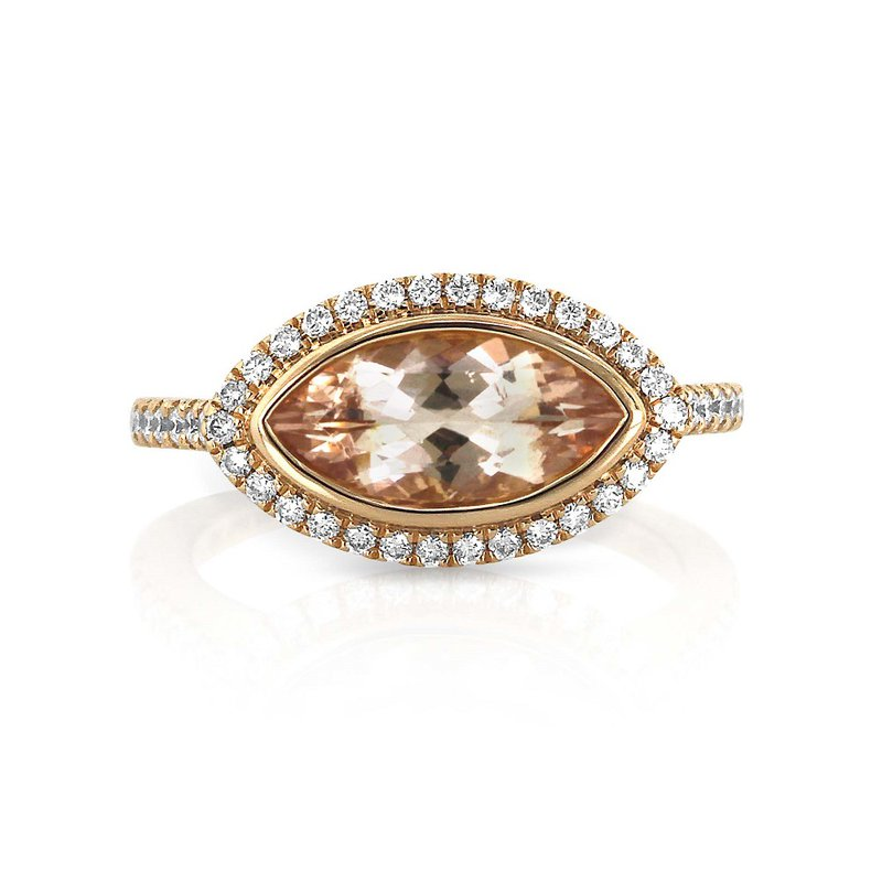 Yael Designs Marquise Morganite & Diamond Ring