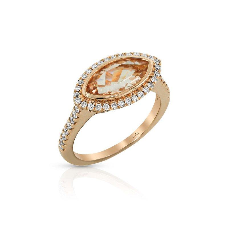 Yael Designs Marquise Morganite & Diamond Ring