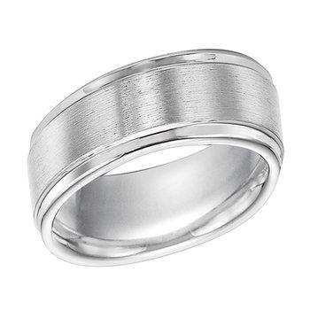 Triton 6MM Step-Cut White Engraved Tungsten Wedding Band