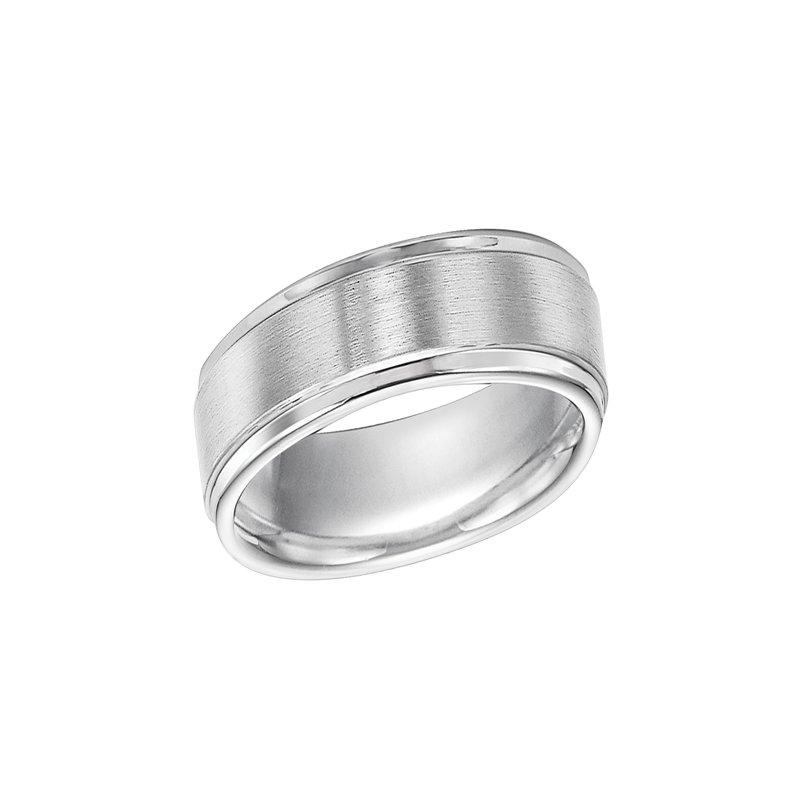 Frederick Goldman Triton 6MM Step-Cut White Engraved Tungsten Wedding Band