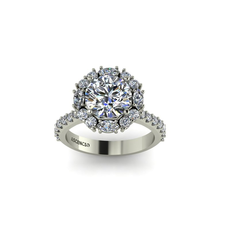 Ascencio Designs Modern Halo Engagement Ring